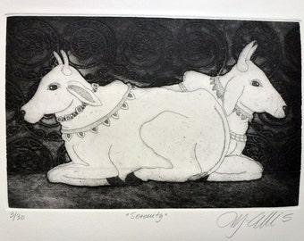 Cow art print, farm animal art print, Indian art print, holy cow art, black and white art, serenity art, hindu image, animal print, etching