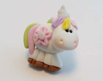 Pastel Unicorn Polymer Clay Charm Bead Scrapbooking Bow Center