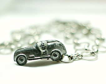 Vintage Car Necklace - Sports Car -  Monopoly Game Piece - Vintage 1980s - High Speed