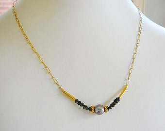 Black Diamond Necklace, Freshwater Pearl, 17 inch, 14kt Gold Filled, Jewelry