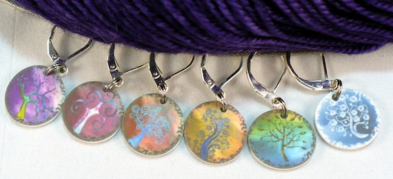 Stylized Rainbow Trees, LOCKING stitchmarkers for KNITTERS or CROCHETERS
