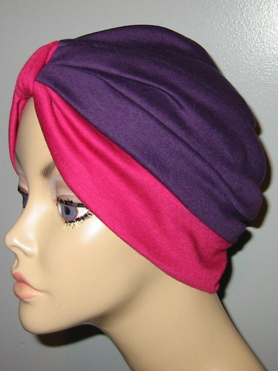 2-Tone Purple and Rose  Knit Turban, Chemo Hat, Snood, Womens Hat