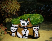 Calico Cats  Art  Necklace Polymer Clay Totem Cat and Kittens