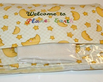OOAK Recycled Cashmere Baby Blanket with Matching Cap Yellow and White