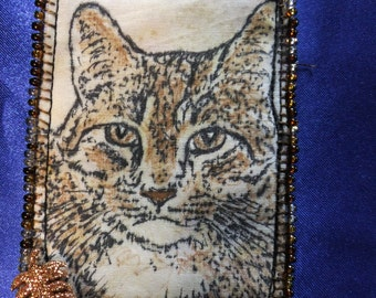 Tiny Art Quilt ATC Brown Tabby Cat Portrait