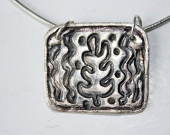 metal clay leaf pendant