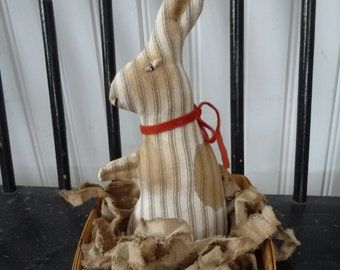 Primitive Ticking Bunny Rabbit In Berry Basket For Spring Easter