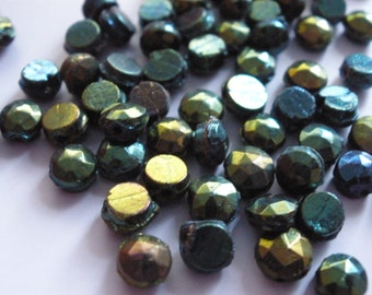 Vintage Glass Beads (16) Rare Iris AB Sew on Nailhead Beads