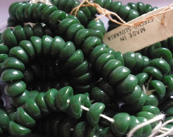 Vintage Glass Beads (12) Forest Green Beadcap Beads