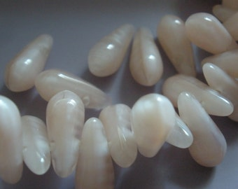 Vintage Glass Beads (24) Pale Pink Satin Drop Beads