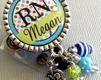 RN Personalized ID Badge Reel  NP Nurse gift, coworker gift, caduceus charm, nurse graduate, student nurse  medical office, teal lime green