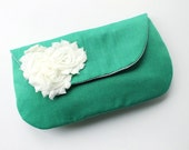 Ivory and Emerald Green Clutch Purse, Custom Bridesmaid Bag in Choice of Colors
