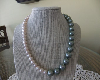 Pink and Green Dyed Pearl Necklace