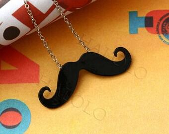 2pcs black moustache mustache beard necklace BN133A