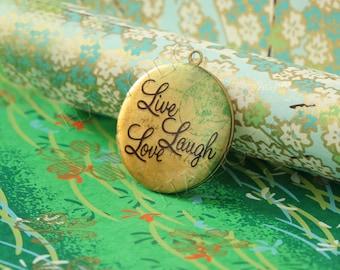 live laugh love round antique brass locket 32mm (LD028)