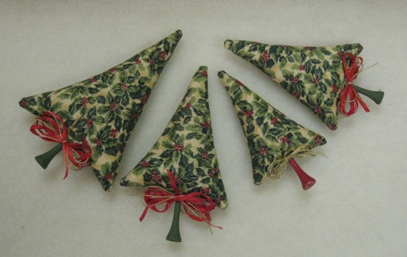 Tiny Trees Holiday Decoration 4 Pine Fabric Toy Miniature Trees By Kim Endlich