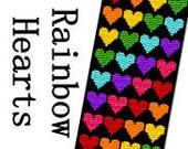 Peyote Bracelet Pattern Rainbow Hearts Wide Three 3 Drop Peyote Bright Bold Cuff Bracelet Digital Black Background Delica Seed Bead Pattern