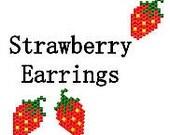 Delica Seed Bead Pattern Brick Stitch Earrings Pattern Tiny Sweet Summer Strawberries Digital PDF File