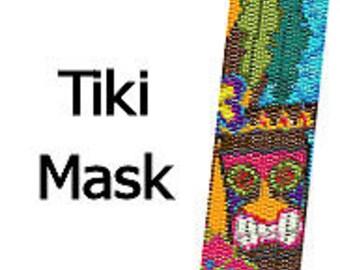 Peyote Bracelet Pattern Polynesian Tiki Mask Tropical Beaded Cuff Bracelet Digital PDF Pattern 2 Drop Peyote Stitch