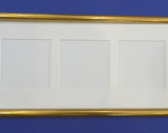 Gold Wood Collage Frame - white mat with 3-Openings 4 x 4""