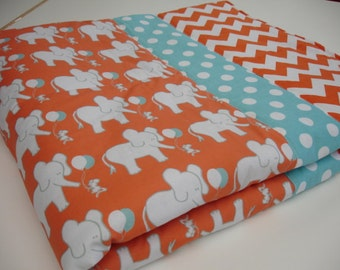 Elephant and Mouse Let's Be Friends in Orange and Aqua Minky Blanket You Choose Size MADE TO ORDER No Batting
