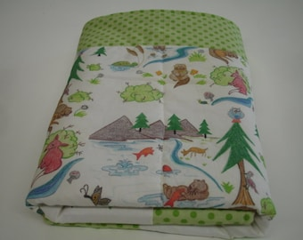 Otterly Fun with Green Dot Border Baby Minky Comforter Blanket You Choose Size MADE TO ORDER No Batting
