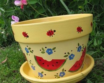 Watermelon Ladybug Flower Pot