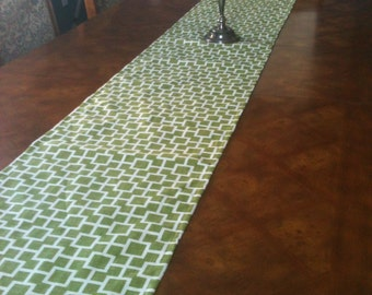 Leaf Green  up to 126 inch long Geometric Table Runner - Lined - Ready to ship