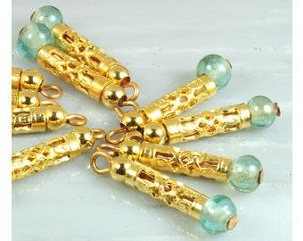 Brass charms dangles, tube charm dangles, 10 brass pierced tube