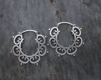 Large Ornate Tribal Hoops