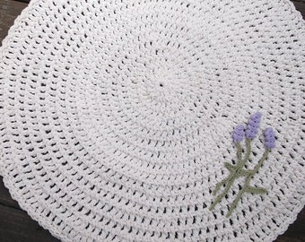 Off White Crochet Round Cotton Rug With Lavender Flowers 28""