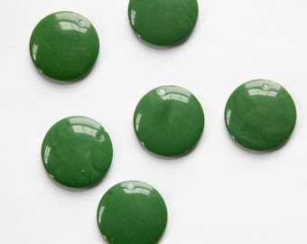 Vintage Dark Green Acrylic Circle Charms Drops (6) pnd161A
