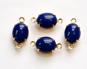 Vintage Navy Blue Oval Stones in 2 Loop Brass Setting 10x8mm ovl005L2