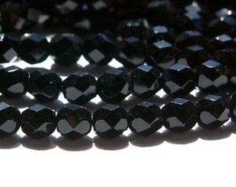 Czech Opaque Black Faceted Glass Beads 6mm (30) czh016B