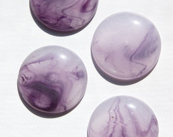 Vintage Acrylic Light Purple with Dark Purple Marbling Cabochons 30mm cab829F
