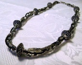 After Midnight multistrand black gray silver necklace