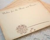 Wedding Wish Cards Guest Book Alternative Vintage Dandelion Set of 10