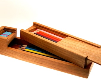 Handcrafted Cherry Wood Pencil Box