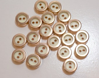 Copper Buttons, Vintage Coppertone and Cream Metal Buttons 7/16 inch in diameter x 40 pieces, Small Buttons