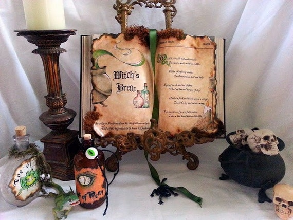 Witchs Brew Macbeth spell potion book prop Halloween Alchemy Apothecary eye newt frog