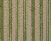Ticking Material | Stripe Fabric | Vintage Look Ticking | Pillow Ticking | Vintage Inspired Ticking | Apple Green 1 Yard