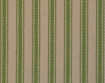 Ticking Material | Stripe Fabric | Vintage Look Ticking | Pillow Ticking | Vintage Inspired Ticking | Apple Green Fabric 28 x 44