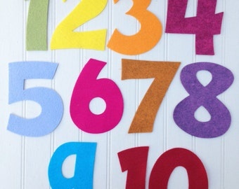 "Wool Felt Number Die Cut Set - 3"" Tall - Great for Learning"