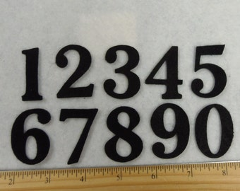 "1.5""  SET 1 to 10 Felt numbers Black Tie font - craft felt your color choice"