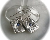 Sapphire Walking Triangle Earrings - Recycled Silver - Eco Friendly