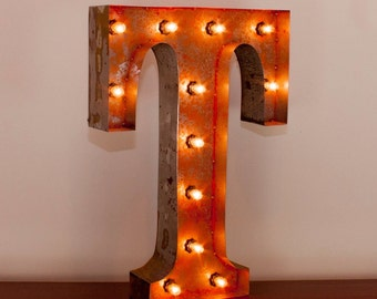 Marquee Light Rusted Home Decor 24 Inch in Letter T