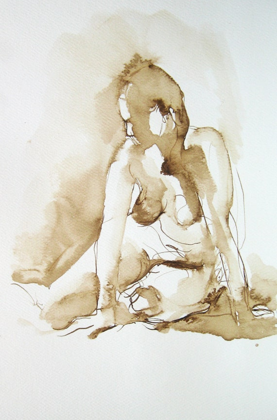 Figure Drawing - Seated Figure - by Michelle Arnold Paine