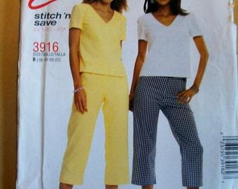 McCalls 3916  Misses Top and Pull on Pants Sewing Pattern