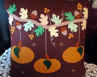 "Hand Stitched 18"" X 18"" Fall LEAVES - PUMPKINS - ACORNS Decorative Wool-Felt Pillow-Wool Applique-Home Decor-Fall Decor-Pumpkins-ofg"