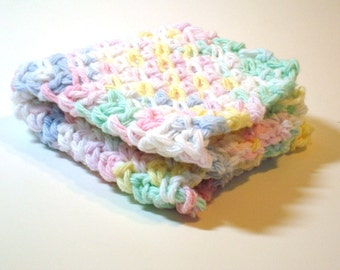 Washcloth Facecloth or Dishcloth Crocheted in Baby Pastel 100% Cotton Blue Pink Mint Yellow White. Spa Cloth